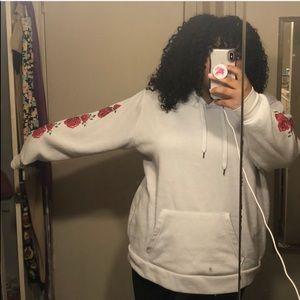 Plus Oversized Rose Pullover Hoodie